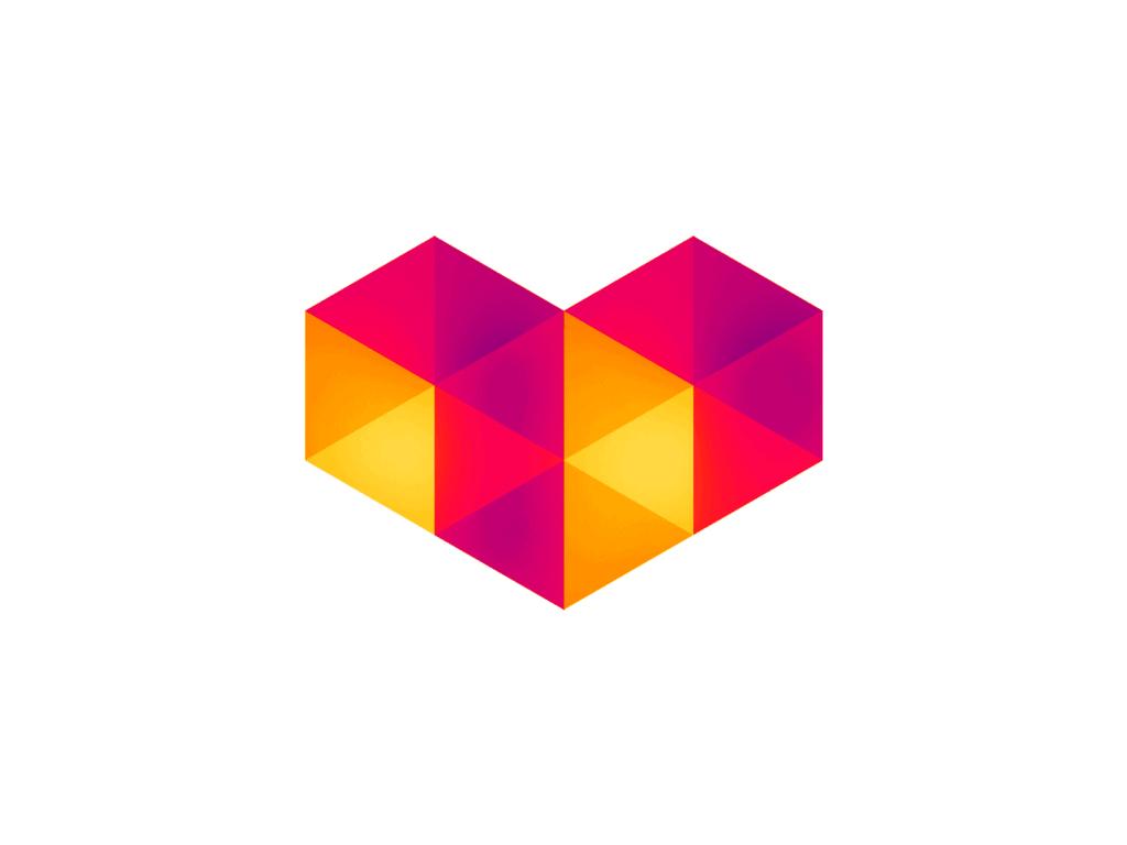 Digital Love Geometric Heart Logo Design Symbol Icon By Alex Tass 4x Png
